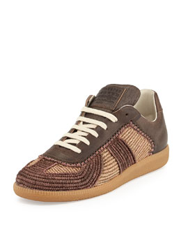 Marrakech Raffia & Leather Low-Top Sneaker, Camel