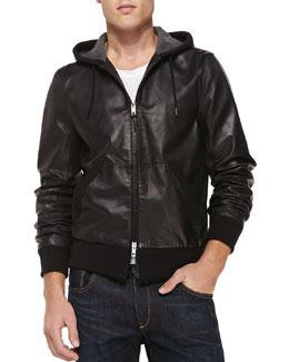 Christopher Leather Zip-Front Hoodie, Black