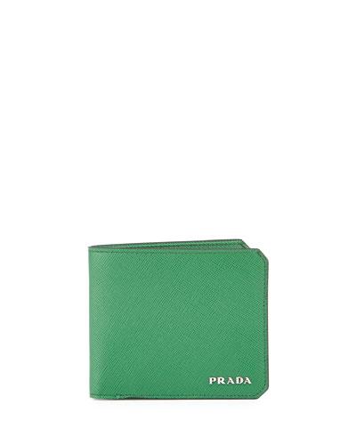 American Saffiano Bi-Fold Wallet, Green