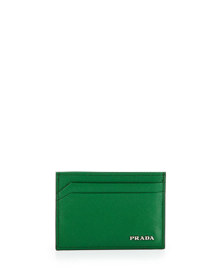 Textured Leather Card Case, Green
