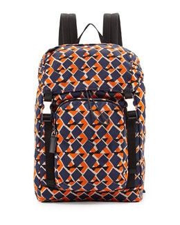Geometric-Print Nylon Double-Buckle Backpack, Blue/Orange