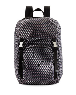 Octagon-Print Nylon Double-Buckle Backpack, Blue/Gray