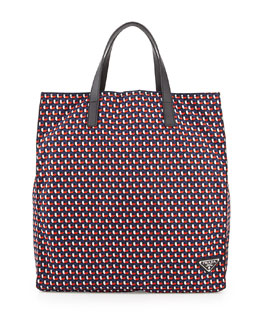 Men's Octagon-Print Nylon Tote Bag, Blue/Red