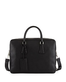 Saffiano Zip-Around Briefcase, Black (Nero)