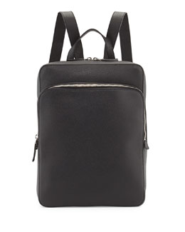 Calfskin Slim Backpack with Zip Closures