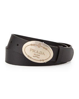 Leather Oval Logo Belt, Black