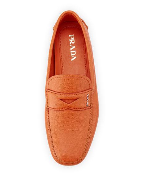 Saffiano Penny Driver Shoe, Orange