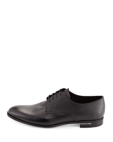 Saffiano Leather Lace-Up, Black