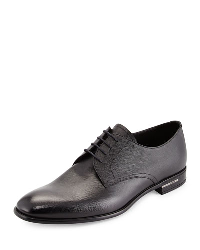 Saffiano Leather Lace-Up  Black