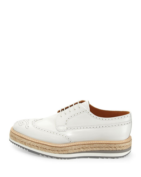 Leather Creeper with Espadrille Sole, White