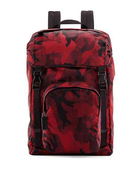 1f0377584c11 ... france prada nylon double buckle backpack red camo b4fdf f7c13