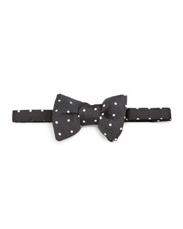 Polka-Dot Jacquard Bow Tie, Black/White