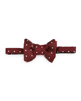 Polka-Dot Jacquard Bow Tie, Red/White