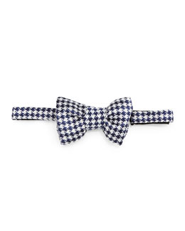 Houndstooth Jacquard Bow Tie, Blue/Cream