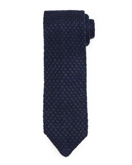 Diamond-Pattern Knit Tie, Navy