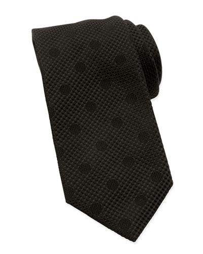Tonal Polka Dot Tie, Black