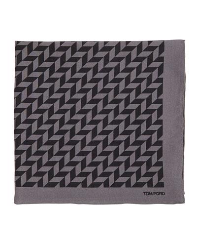 Geometric-Print Silk Pocket Square, Black/Gray