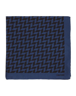 Geometric-Print Silk Pocket Square, Navy/Black