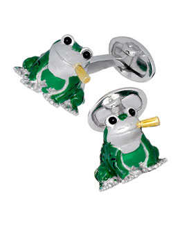 Green Frog with Cigar Cuff Links