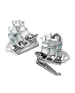 Ship w/ Treasure Bottom Cuff Links