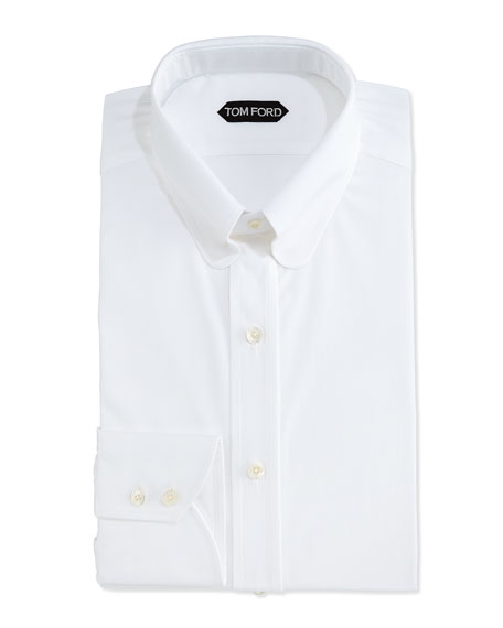 Slim-Fit Dress Shirt with Metal Bar, White