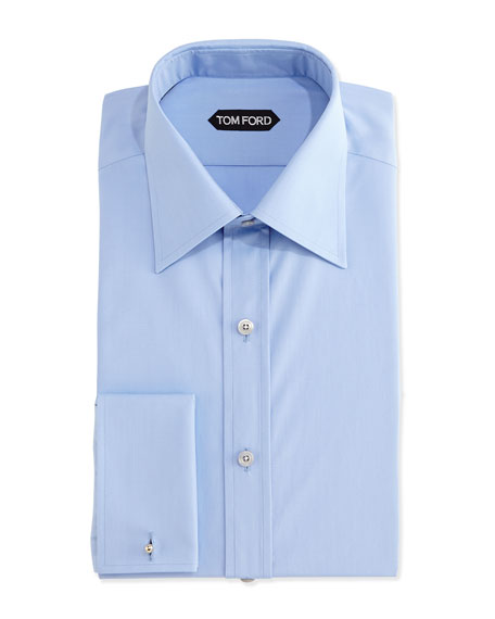 TOM FORD Classic French-Cuff Dress Shirt, Blue