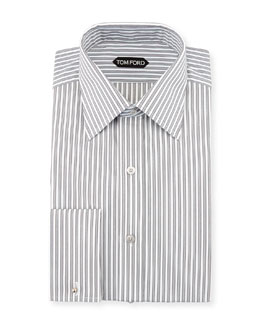 Striped French Cuff Dress Shirt, Black/White