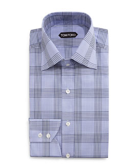 Prince of Wales Check Dress Shirt, Blue/White
