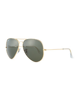 Ray-Ban Original Aviator Polarized Sunglasses, Gold/Green
