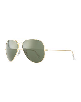Ray-Ban Original Aviator Sunglasses, Gold/Green