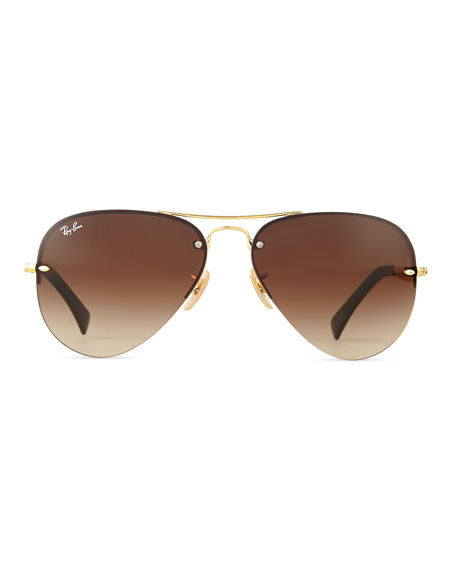 Rimless Aviator Eyeglass Frames : Ray-Ban Semi-Rimless Aviator Sunglasses