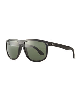 Ray-Ban Flat Top Polarized Sunglasses, Black/Green