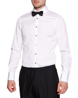 Black-Button Evening Shirt, White