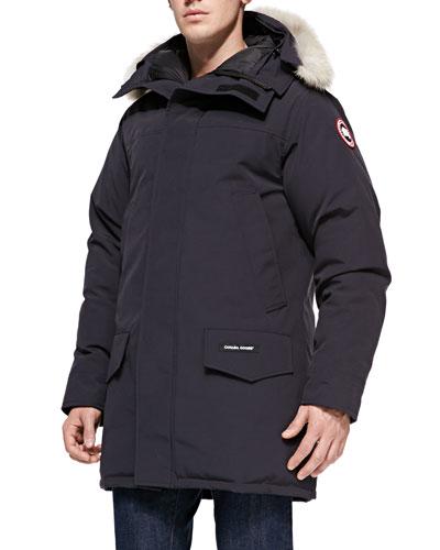 Langford Arctic-Tech Parka Jacket with Fur Hood, Navy