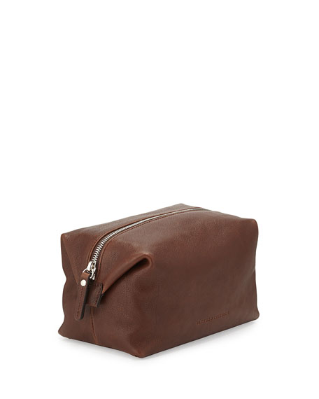Tumbled Leather Toiletry Kit, Copper