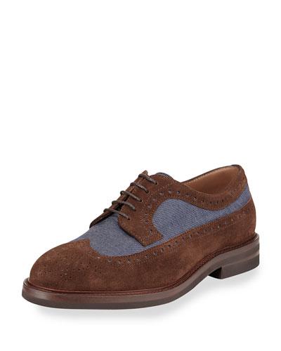 Denim & Suede Wing-Tip Derby Shoe, Brown/Blue