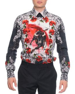 Button-Down Mosaic Bull-Print Shirt, White