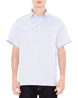 Oversized Oxford Short-Sleeve Shirt, Light Blue