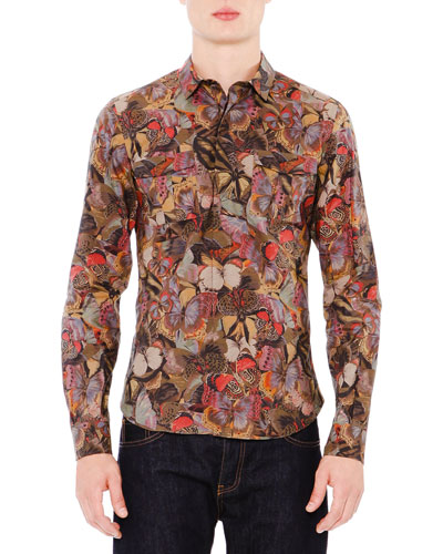 Beige Butterfly Print Sleeve Shirt by Valentino