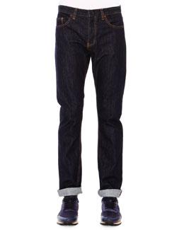 Dark Clean-Wash Denim Jeans, Blue