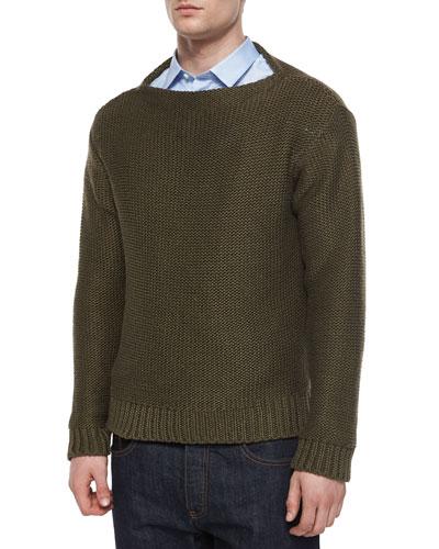 Chunky Knit Crewneck Sweater, Brown
