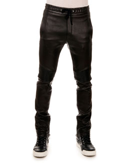 Leather Drawstring Jogger Pants, Black