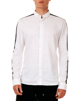 Racing-Stripe Long-Sleeve Shirt, White
