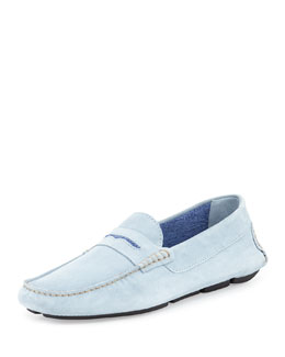 Roadster Men's Suede Penny Driver, Light Blue/Dark Blue