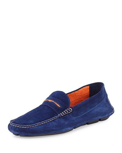 Roadster Men's Suede Driver Loafer, Dark Blue