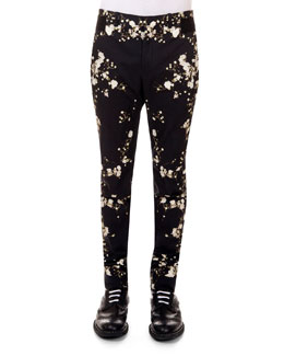 Baby's Breath-Print Slim-Fit Pants