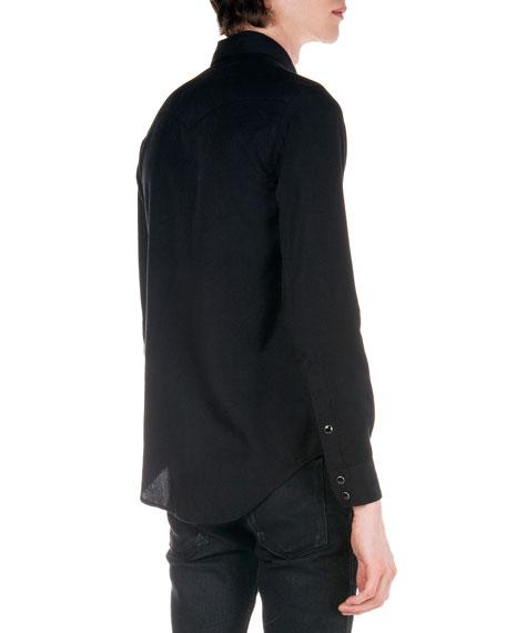 Western Long-Sleeve Shirt, Black
