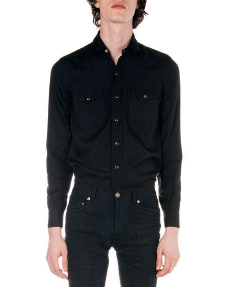 Western Long-Sleeve Shirt, Black