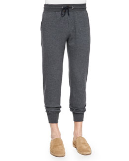 Cotton-Blend Knit Spa Pants, Charcoal