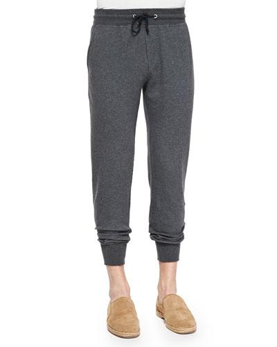 Cotton-Blend Knit Spa Pants, Charcoal